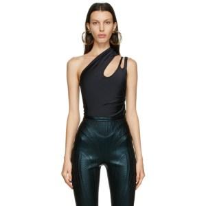Mugler Black Single Shoulder Bodysuit