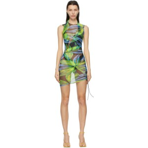 Louisa Ballou SSENSE Exclusive Blue and Yellow Heatwave Ruched Dress