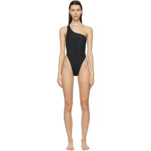 Louisa Ballou Black Plunge One-Piece Swimsuit