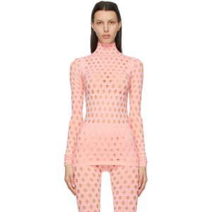 Maisie Wilen Pink Perforated Turtleneck