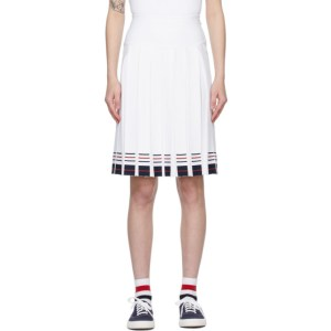 Thom Browne White Box Pleat Double Cricket Miniskirt