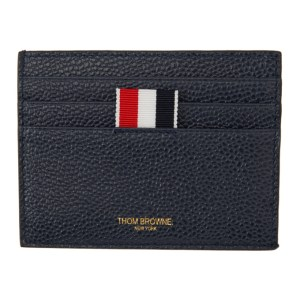 Thom Browne Navy 4-Bar Stripe Note Compartment Card Holder