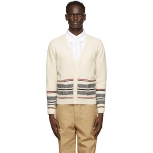 Thom Browne Off-White Mohair Jacquard Cricket Stripe Cardigan