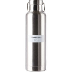 Thom Browne Silver Stainless Steel Logo Water Bottle, 24oz