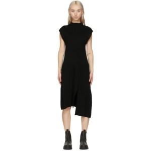 Kenzo Black Wool Asymmetric Jumper Dress