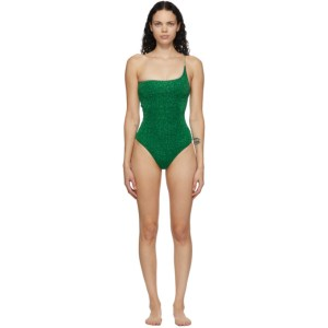 Oseree Green One-Shoulder Lumiere One-Piece Swimsuit