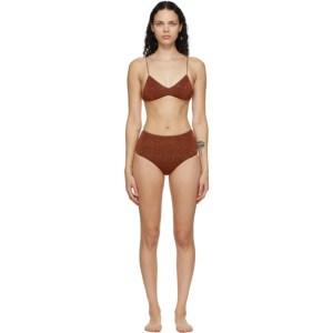 Oseree Brown High-Waisted Lumiere Bikini