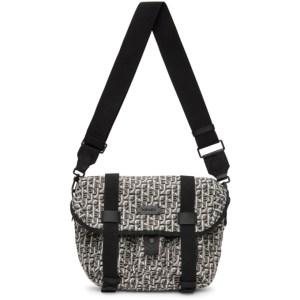 Kenzo White and Black Small Jacquard Trek Messenger Bag