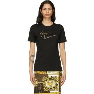 Versace Black Crystal GV Signature T-Shirt