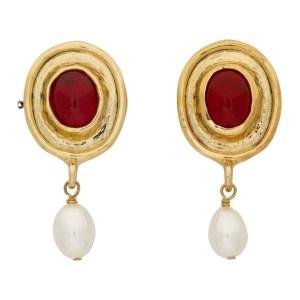 Mondo Mondo Gold and Red Vivi Earrings