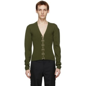 Dion Lee Green Wool Hook Cardigan