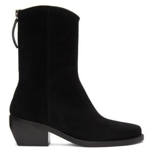 Legres Black Suede Western Boots