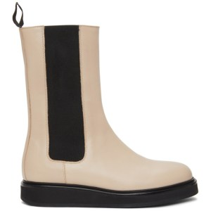 Legres Beige Leather Mid-Calf Chelsea Boots