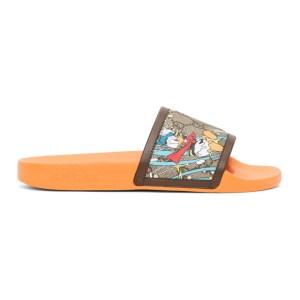 Gucci Orange Disney Edition GG Supreme Donald Duck Sandals
