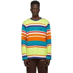 Awake NY Green Engineered Stripe Long Sleeve T-Shirt