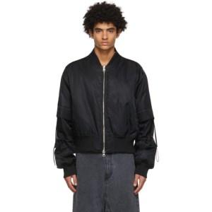 JERIH Black Detachable Bomber Jacket