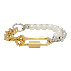 IN GOLD WE TRUST PARIS Gold and Silver Pearl Cuban Link Bracelet