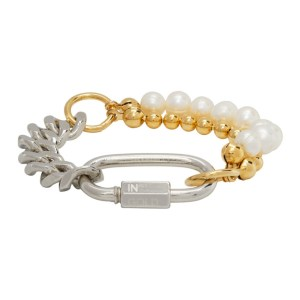 IN GOLD WE TRUST PARIS Silver and Gold Pearl Cuban Link Bracelet