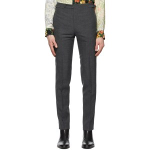 Husbands Grey Fresco Tapered High-Waisted Trousers