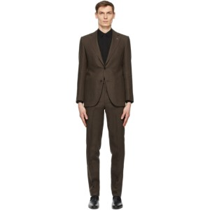 Husbands Brown Linen Single-Breasted Suit