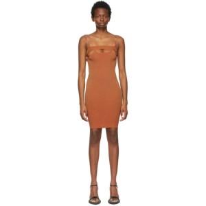 ISA BOULDER SSENSE Exclusive Tan and Red Bottle Short Dress