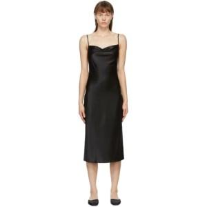 Fleur du Mal Black Silk Cowl Neck Slip Dress