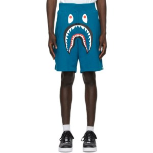 BAPE Blue Wide Shark Sweat Shorts