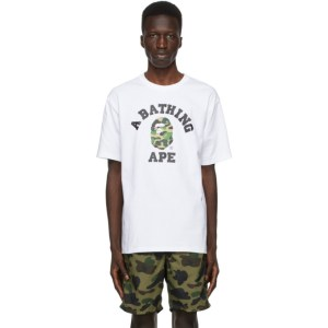 BAPE White Camo College T-Shirt