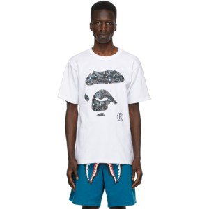 BAPE White Camo Ape Face Space T-Shirt