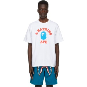 BAPE White Colors College T-Shirt