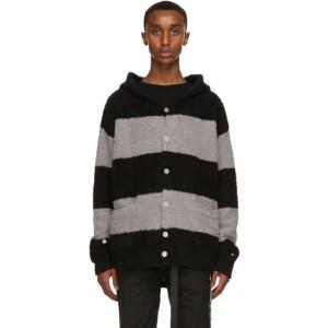 mastermind JAPAN Black and Grey C2H4 Edition C-MASTERMIND Knitted Stripe Hoodie