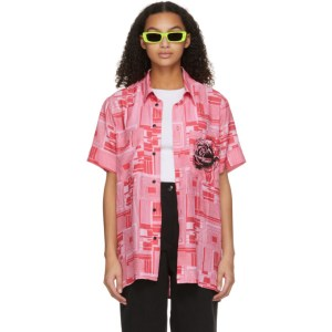 SSENSE WORKS SSENSE Exclusive Jeremy O. Harris Pink Print Rose Bowling Shirt