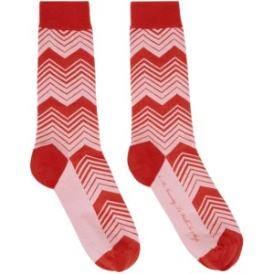SSENSE WORKS SSENSE Exclusive Jeremy O. Harris Red and Pink Print Socks