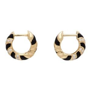 Yvonne Leon Gold and Black Twisted Enamel Earrings