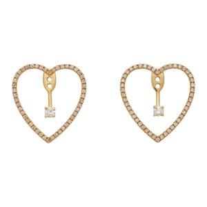 Yvonne Leon Gold Floating Heart Chip Earrings