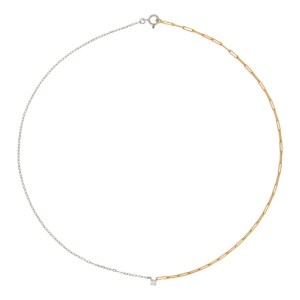 Yvonne Leon Gold and White Gold Solitaire Necklace