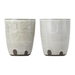 Lily Pearmain SSENSE Exclusive Black and White Fingerprint Cup Set
