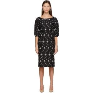 Erdem Black Linen Embroidered Gerald Dress