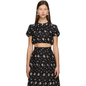Erdem Black Embroidered Romi Cropped T-Shirt