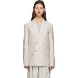 Lemaire Beige Belted Double-Breasted Blazer