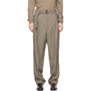 Lemaire Taupe Wool Belted Pleat Trousers