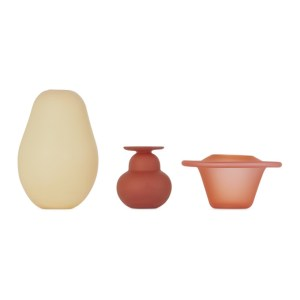 Verre dOnge SSENSE Exclusive Beige and Red Small Vase Set