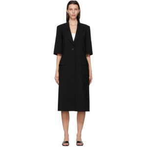 LOW CLASSIC Black Wool Half Sleeve Long Blazer