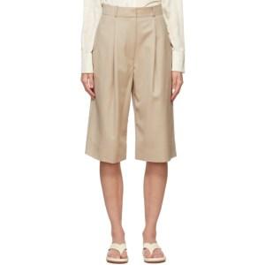 LOW CLASSIC Beige Wool Bermuda Shorts