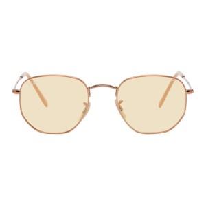 Ray-Ban Rose Gold Hexagonal Flat Sunglasses