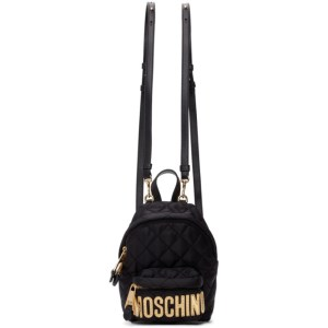 Moschino Black Quilted Logo Backpack