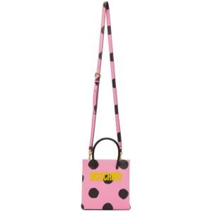 Moschino Pink Polka Dot Logo Shopper Bag