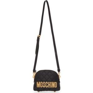 Moschino Black Quilted Logo Shoulder Bag