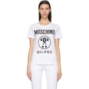 Moschino White Double Question Mark T-Shirt