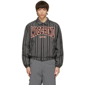 Moschino Black Insulated Pinstripe Windbreaker Jacket